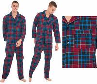 Mens Brushed Cotton Pyjamas Flannel Wincy Traditional Warm Pajamas Tartan Check