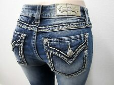 NWT MISS ME M5014S270 CuteSkinny Jeans Med Blue Gold Stitching CUTE Size 32 x 30