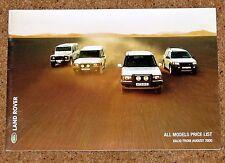 Aug 2000 LAND ROVER PRICE LIST - Defender Freelander Discovery Range Rover