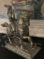 Antique 19th Century Brass Man On Horse Back Door Stop