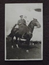 WW1 CANADIAN SOLDIER & YOUNG LADY SITTING ON A HORSE Vintage 1910's PHOTO