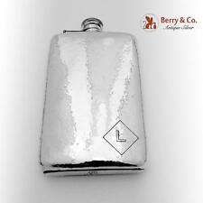 Vintage Large Hammered Liquor Flask Sterling Silver