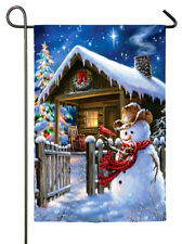 "COUNTRY CHRISTMAS COTTAGE SNOWMAN HOLIDAY WINTER SMALL BANNER FLAG 12.5"" x 18"""
