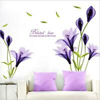 Wall Sticker Lily Purple Flower Living Room Lobby Home Decor Wall Decal Bedroom