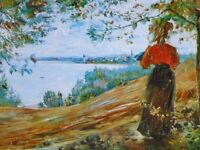 CHOP1431 100% handmade painted girl by the lake oil painting wall art canvas