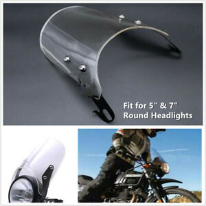 "Motorcycle Windshield Windscreen w/ Mount Bracket Fit 5"" & 7"" Round Headlights"