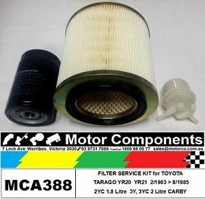 FILTER KIT Oil Air Fuel for TOYOTA TARAGO YR20 YR21 2WD 2YC1.8L & 2L 1983 > 85