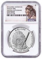 2016 Native Silver Dollar Az Apache Rattlesnake 1 oz Silver NGC Gem PF SKU52732