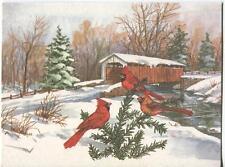 VINTAGE CHRISTMAS RED CARDINAL BIRDS STREAM BRIDGE SNOW PINES GREETING ART CARD