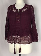 Paper Crane NWT Maroon Knit Overlay Flared Sleeves Top Blouse Size L