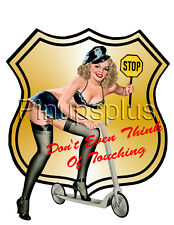 Pinup Girl Decal Waterslide Sticker Trashy Stop Sign Blond Police  s291