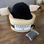 DEL MAR CLASSICO Equestrian Protective Headgear Black w/ Velvet Cover & Box