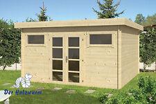 Lagerware! 40 mm Flachdach Gartenhaus Blockhaus 420x420 Holzhaus Gerätehaus Holz
