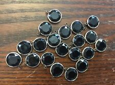 Vintage Silver Plate Black Lucite Faceted Bezel Charms Drops Link Finding Lot