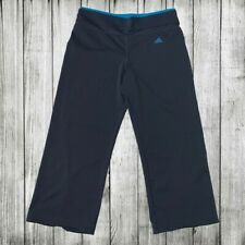 Adidas Stretch Yoga Pants Calf Length Gray Blue athleisure exercise workout