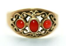 coral ring pierced design size M 1/2 Vintage 15 ct yellow gold Netherlands red