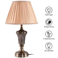 """13"""" Antique Brass Bedside Table Lamp w/ LED Bulb Champagne Bedroom UL"""