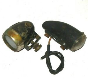 PAIR OF VINTAGE SIDELIGHTS 1 X LUCAS AND 1 UNKOWN BRASS BODIED PRE WAR MG AUSTIN