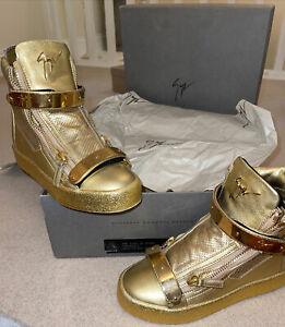 Giuseppe Zanotti Uk 5 Gold perforated double bar High Top sneakers