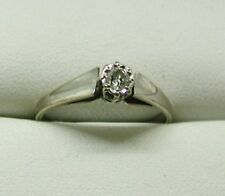Vintage 18 Carat White Gold Diamond Solitaire Ring Size N