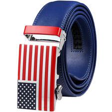 Falari USA Flag Men's Genuine Leather Dress Ratchet Belt 35mm Adjustable Size