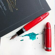 JINHAO 159 Red & Chrome with 18k Gold Plated Trim Fountain Pen Medium M Nib