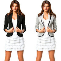 UK New Womens Ladies Stylish Casual Suit Coat Jacket Blazer Top Size 10 12 14 16
