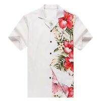 Made in Hawaii Men Hawaiian Aloha Shirt Luau Cruise Party Side Orchid White