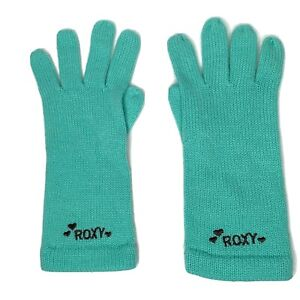 Roxy Knit Girls Gloves Green Winter Cold Youth Girl One Size