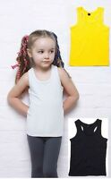Humbugz Girls Kids Plain Cotton Sleeveless T-Shirt Tshirt Vest Tank Top Camisole