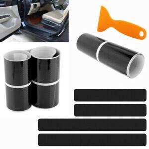 4x  4D Carbon Fiber Car Door Pedal Plate Sill Scuff Cover Anti Scratch Sticker