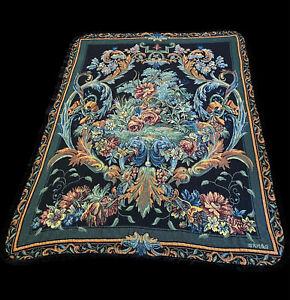 Vintage French Wall Hanging tapestry Inspired Throw Blanket Velvet Trim 47x64