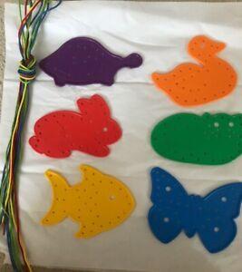 PRESCHOOL PLASTIC DUCK RABBIT BUTTERFLY FISH TURTLE CAT LACE UP SHOELACES LOT