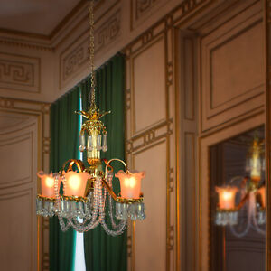 Chandelier- 5 arm opaque tulip shades crystals Miniature Dollhouse Lighting 1:12