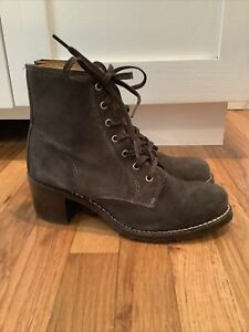 Frye Lace-Up Sabrina Bootie 6G Size 9 Charcoal Gray Combat