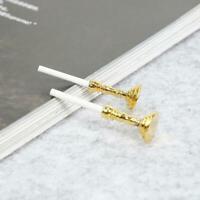 Gold Mini Candlesticks White Candles Doll House Miniature 1:12 1Pair Decor T5V2