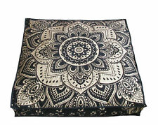 Mandala Flower Design Square Floor Cushion Cover 35 Inches Cotton Handmade Art