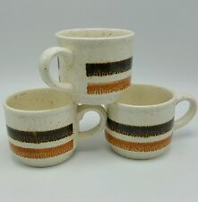 Coffee Mug Brown Orange Bands Biltons England Set 3 Cream Retro Stripe
