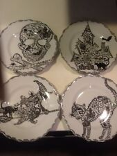 222Fifth Wiccan Lace Halloween 4 New Salad Plates Cat Witch Skull Haunted House