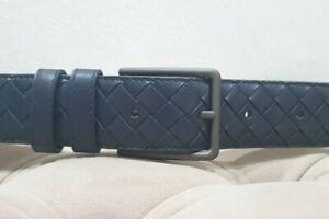 Bottega Veneta men's intrecciato blue belt