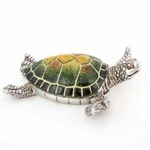 "Sea Turtle Trinket Stash Box Green/Silver 6 1/2""L X 6 1/2""W FREE SHIPPING!"