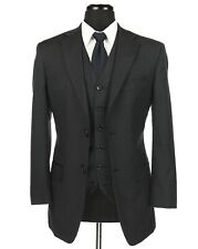 Jones New York 100% Wool 3 Piece Suit Charcoal Gray Size 36S Flat Front