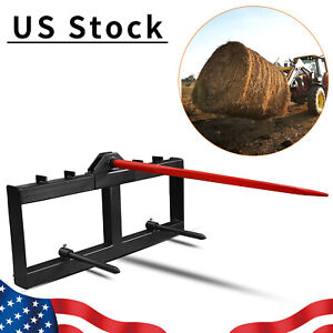 3 Point Hay Bale Spear Attachment 49''inch Tractor Skid Steer Loader Quick Tach