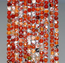 4MM  AGATE GEMSTONE ICE RED FACETED ROUND LOOSE BEADS 15""