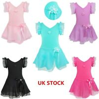 UK Kids Girls Ballet Dance Leotard Dress Ballerina Dancewear Gymnastics Costume