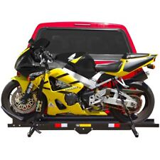 Hitch-Mounted Steel Motorcycle Carrier Rack with Ramp 600 lb Capacity