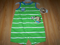Infant Baby Size 0-3 Months Carters Sunsuit Romper Outfit Soccer Dog Green White