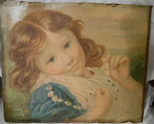 antique print of young blue eyed girl with daisy necklace