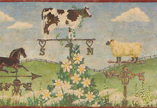 Weather Vane Rooster Cow Sheep Horse Wallpaper Border