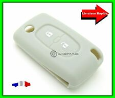 Étui Housse Protection pour Télécommande Clé Plip Peugeot Citroën 2 Boutons GRIS
